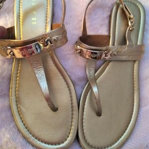 COACH  'Caterine' Flat Sandal gold on gold 9B